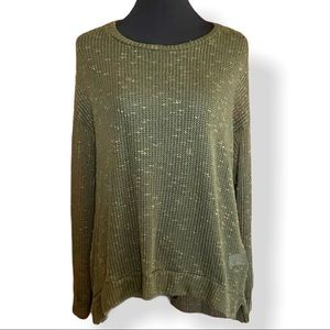 Chris & Carol Open Knit Pullover in Olive Green
